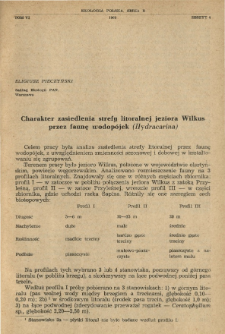 Charakter zasiedlenia strefy litoralnej jeziora Wilkus przez faunę wodopójek (Hydracarina)