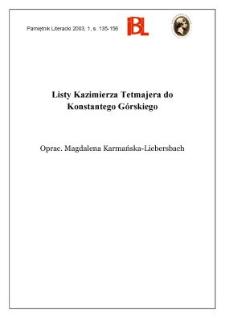 Listy Kazimierza Tetmajera do Konstantego Górskiego