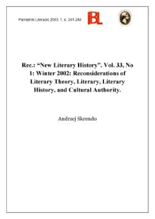 """New Literary History"", 2002, Vol. 33, No 1 (Winter)"