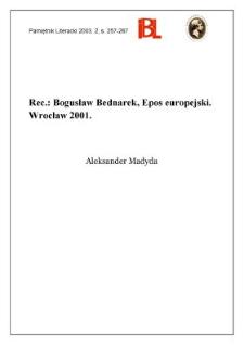 """Epos europejski"", Bogusław Bednarek, Wrocław 2001"