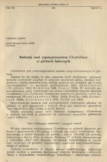 Badania nad występowaniem Clostridium w glebach łąkowych