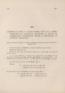 """Addition to Prof. R. S. Ball's paper """"Note on a transformation of Lagrange's equations of motion in generalised coordinates, which is convenient in physical astronomy"""""""
