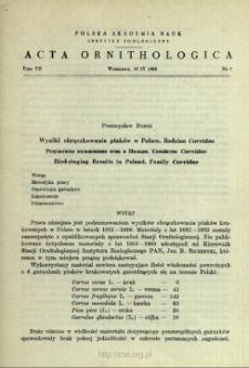 Wyniki obrączkowania ptaków w Polsce : rodzina Corvidae