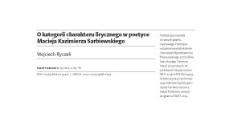 O kategorii charakteru lirycznego w poetyce Macieja Kazimierza Sarbiewskiego