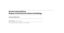 Ars sine scientia nihil est. Respons na koreferat dra Łukasza Cybulskiego