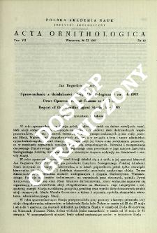 Sprawozdanie z działalności Stacji Ornitologicznej za rok 1953