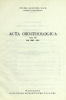 Acta Ornithologica ; t. 7 - Spis treści