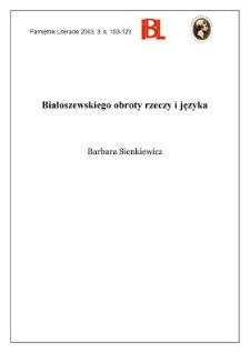 Białoszewskiego obroty i rzeczy języka