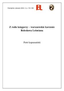 Z rodu księgarzy - warszawskie korzenie Bolesława Leśmiana