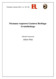 Nieznana rozprawa Gustawa Herlinga-Grudzińskiego
