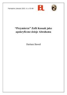 """""""Przymierze"""" Zofii Kossak jako apokryficzne dzieje Abrahama"""