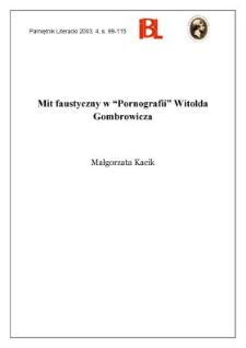 """Mit fantastyczny w """"Pornografii"""" Witolda Gombrowicza"""