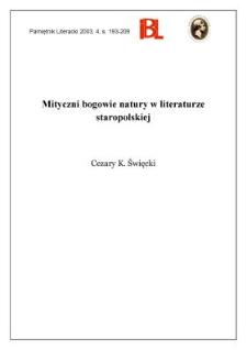 Mityczni bogowie natury w literaturze staropolskiej