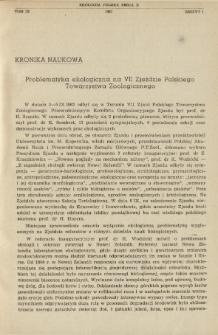 Problematyka ekologiczna na VII Zjeździe Polskiego Towarzystwa Zoologicznego