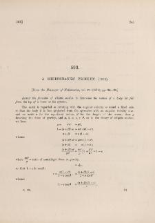 A Sheepshanks' problem (1866)