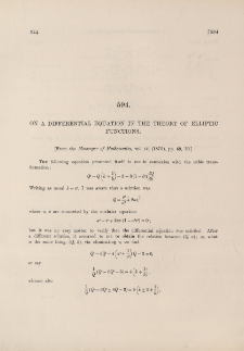 On a differential equation in the theory of elliptic functions