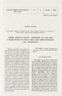 Upper Vistula River: response of aquatic communities to pollution and impoundment. 8, Zooseston