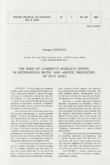 The role of Lumbricus rubellus Hoffm. in determining biotic and abiotic properties of peat soils