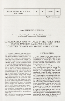 Eutrophication rate of lakes in the Jorka river system (Masurian Lakeland, Poland): long-term changes and trophic correlations