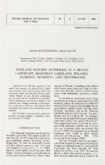 Wetland patches (potholes) in a mosaic landscape (Masurian Lakeland, Poland): floristic diversity and disturbance