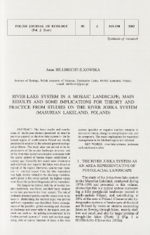 River-lake system in a mosaic landscape; main results and some implications for theory and practice from studies on the river Jorka system (Masurian Lakeland, Poland)