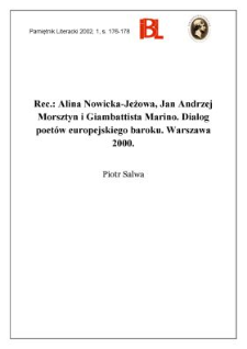 Alina Nowicka-Jeżowa, Jan Andrzej Morsztyn i Giambattista Marino : dialog poetów europejskiego baroku. Warszawa 2000