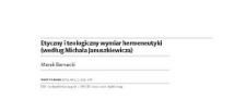 Etyczny i teologiczny wymiar hermeneutyki (według Michała Januszkiewicza)