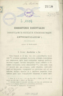 Characteres essentiales nonnullorum generum subgenerumque anthomyidarum