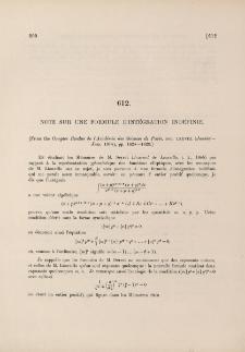Note sur une formule d'intégration indéfinie