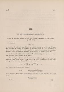 On an algebraical operation
