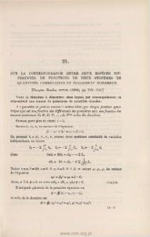 Sur la correspondance entre deux espèces différentes de fonctions de deux systèmes de quantités [...]