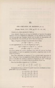 Sur l'équation en matrices px=xq