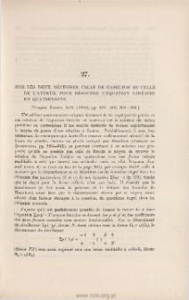 Sur les deux méthodes, celle de Hamilton et celle de l'auteur, pour résoudre l'équation linéaire en quaternions