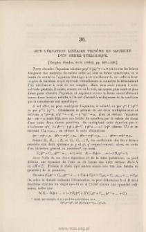 Sur l'équation linéaire trinôme en matrices d'un ordre quelconque