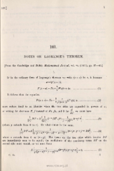 Notes on Lagrange's Theorem
