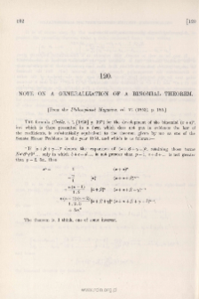 Note on a Generalisation of the Binomial Theorem