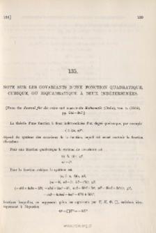 Note sur les Covariants d'une Fonction Quadratique, Cubique, ou Biquadratique à deux Indéterminées