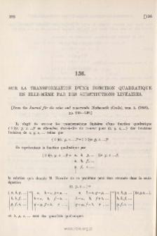 Sur la Transfornation d'une Fonction Quadratique en ellemême par des Substitutions linéaires