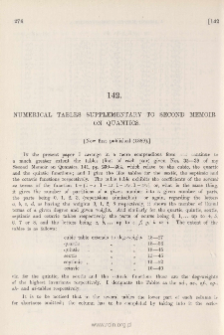 Numerical Tables Supplementary to Second Memoir on Quantics