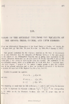 Tables of the Sturmian Functions for Equations of the Second, Third, Fourth, and Fifth Degrees