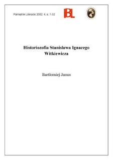 Historiozofia Stanisława Ignacego Witkiewicza