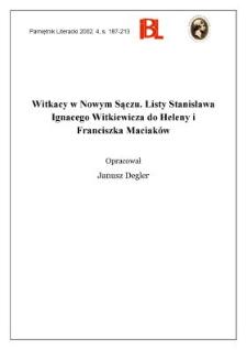 Witkacy w Nowym Sączu : listy Stanisława Ignacego Witkiewicza do Heleny i Franciszka Maciaków