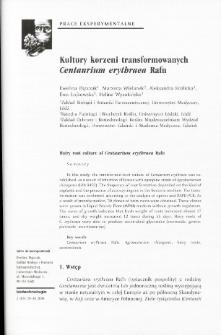 Hairy root culture of Centaurium erythraea Rafn