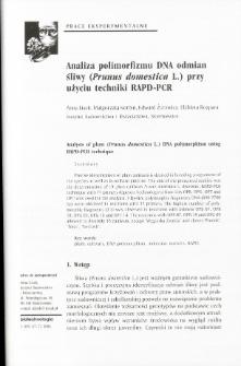 Analiza polimorfizmu DNA odmian śliwy (Prunus domestica L.) przy użyciu techniki RAPD-PCR