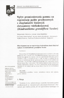 Effect of gamma rays on regeneration of adventitious shoots from leaf explants of Dendranthema grandiflora Tzvelev