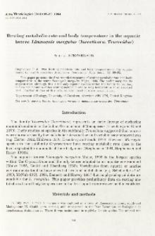 Resting metabolic rate and body temperature in the aquatic tenrec Limnogale mergulus (Insectivora: Tenrecidae)