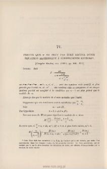 Preuve que pi ne peut pas être racine d'une équation algébrique à coefficients entiers