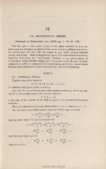 On arithmetical series