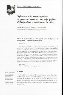 Effect of meta-topolin on the growth and development of Pelargonium x hortorum shoots in vitro
