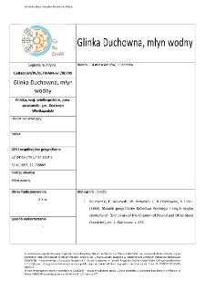 Glinka Duchowna, watermill